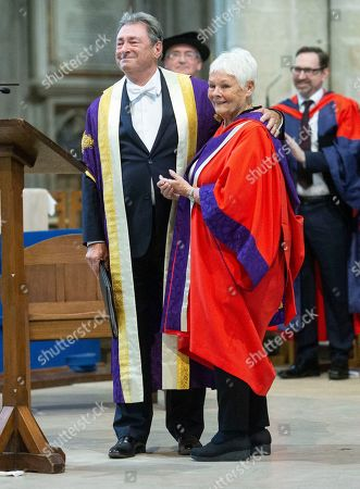 Judi Dench is joined by the Chancellor of University Alan Titchmarsh as she makes a speech to students at Winchester Cathedral at the end of Ceremony where she received her Honorary Doctorate Degree.