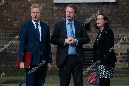 Stock Picture of Paymaster General and Minister for the Cabinet Office Oliver Dowden (L), Secretary of State for Scotland Alister Jack (C) and Leader of the House of Lords Baroness Evans of Bowes Park (R) arrive for a cabinet meeting in Downing Street, Central London, Britain, 18 October 2019. The British Parliament will vote on 19 October on a Brexit deal between the European Union and British governments.