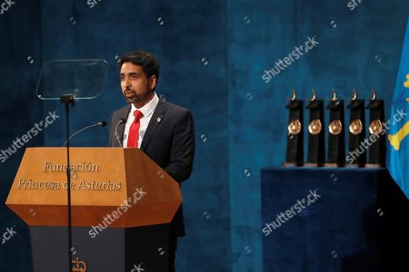 US mathematician Salman Khan speaks after being presented the Princess of Asturias 2019 Award for International Cooperation during the 39th Princess of Asturias Awards ceremony at the Campoamor Theater in Oviedo, Asturias, northern Spain, 18 October 2019. The Princess of Asturias Awards are given every year to personalities or organizations from all around the world who make significant achievements in the sciences, arts, literature, humanities and sports.