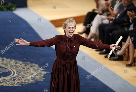 US writer Siri Hustvedt reacts after being presented the Princess of Asturias 2019 Award for Literature during the 39th Princess of Asturias Awards ceremony at the Campoamor Theater in Oviedo, Asturias, northern Spain, 18 October 2019. The Princess of Asturias Awards are given every year to personalities or organizations from all around the world who make significant achievements in the sciences, arts, literature, humanities and sports.