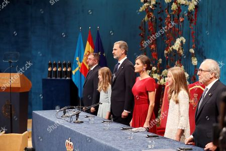 (L-R) Regional president of Asturias Adrian Barbon, Spanish Crown Princess Leonor, King Felipe VI, Queen Letizia, Princess Sofia and the president of Princess of Asturias Foundations Luis Fernandez-Vega chair the 39th Princess of Asturias Awards ceremony at the Campoamor Theater in Oviedo, Asturias, northern Spain, 19 October 2019. The Princess of Asturias Awards are given every year to personalities or organizations from all around the world who make significant achievements in the sciences, arts, literature, humanities and sports.