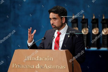 US mathematician Salman Khan delivers a speech after receiving the Princess of Asturias 2019 Award for International Cooperation during the 39th Princess of Asturias Awards ceremony at the Campoamor Theater in Oviedo, Asturias, northern Spain, 18 October 2019. The Princess of Asturias Awards are given every year to personalities or organizations from all around the world who make significant achievements in the sciences, arts, literature, humanities and sports.
