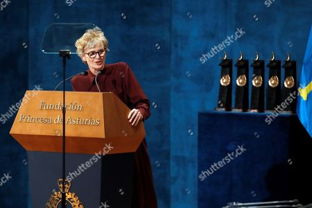 US writer Siri Hustvedt speaks on stage after receiving the Princess of Asturias Literature Award 2019 during the 39th Princess of Asturias Awards ceremony at the Campoamor Theater in Oviedo, Asturias, northern Spain, 19 October 2019. The Princess of Asturias Awards are given every year to personalities or organizations from all around the world who make significant achievements in the sciences, arts, literature, humanities and sports.