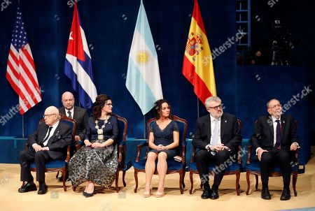 (L-R) Princess of Asturias Award 2019 winners, British playwright Peter Brook (Arts); Gdansk's Mayoress Aleksandra Dulkiewicz (Concorde); Chief of Vigilants of National Museum of Prado, Laura Fernandez Diaz; the president of the Prado National Museum, Miguel Falomir; and the president of the Prado National Museum's National Patronage Javier Solana (Humanities and Communication) onstage the 39th Princess of Asturias Awards ceremony at the Campoamor Theater in Oviedo, Asturias, northern Spain, 19 October 2019. The Princess of Asturias Awards are given every year to personalities or organizations from all around the world who make significant achievements in the sciences, arts, literature, humanities and sports.