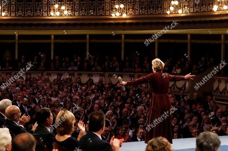 US writer Siri Hustvedt (R) receives an ovation after being presented the Princess of Asturias 2019 Award of Literature during the 39th Princess of Asturias Awards ceremony at the Campoamor Theater in Oviedo, Asturias, northern Spain, 19 October 2019. The Princess of Asturias Awards are given every year to personalities or organizations from all around the world who make significant achievements in the sciences, arts, literature, humanities and sports.