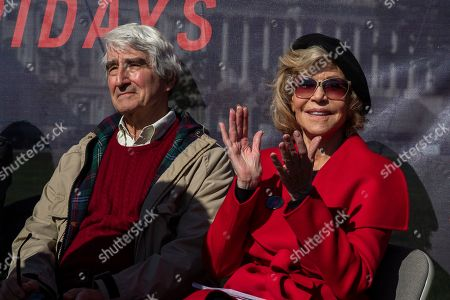 Stock Picture of Sam Waterston, Jane Fonda. Actors Sam Waterston, left, and Jane Fonda attend a rally on Capitol Hill in Washington,. A half-century after throwing her attention-getting celebrity status into Vietnam War protests, Fonda is now doing the same in a U.S. climate movement where the average age is 18