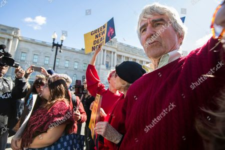 Jane Fonda, Sam Waterston. Actor Sam Waterston, from right, and Jane Fonda march during a rally on Capitol Hill in Washington,. A half-century after throwing her attention-getting celebrity status into Vietnam War protests, Fonda is now doing the same in a U.S. climate movement where the average age is 18