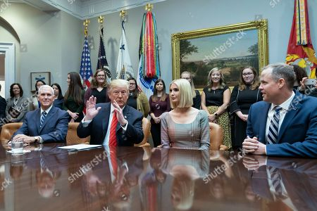 US President Donald J. Trump (2nd L) speaks during a congratulatory call to NASA astronauts Jessica Meir and Christina Koch after they conducted the first all-female spacewalk outside of the International Space Station, from the Roosevelt Room at the White House, Washington, DC, USA, 18 October 2019. With Trump are United States Vice President Mike Pence (L), Ivanka Trump (2-R), daughter and advisor to US President Trump and NASA Administrator Jim Bridenstine (R).
