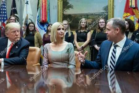 United States President Donald J. Trump, Advisor to the President Ivanka Trump and NASA Administrator Jim Bridenstine speak from the Roosevelt Room of the White House during a congratulatory call to NASA astronauts Jessica Meir and Christina Koch after they conducted the first all-female spacewalk outside of the International Space Station.
