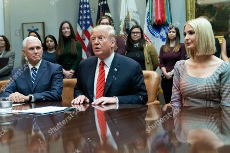 US Vice President Mike Pence, United States President Donald J. Trump and Advisor to the President Ivanka Trump speak from the Roosevelt Room of the White House during a congratulatory call to NASA astronauts Jessica Meir and Christina Koch after they conducted the first all-female spacewalk outside of the International Space Station.