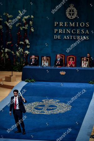 Salman Khan, Leonor. Salman Khan of the US gestures after receiving Princess of Asturias Award for International Cooperation 2019 from Spain's Princess of Asturias Leonor, at a ceremony in Oviedo, northern Spain