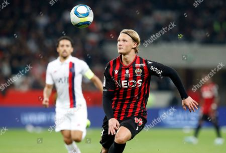 Kasper Dolberg of OGC Nice in action during the French Ligue 1 soccer match, OGC Nice vs Paris Saint Germain, at the Allianz Riviera stadium, in Nice, France, 18 October 2019.