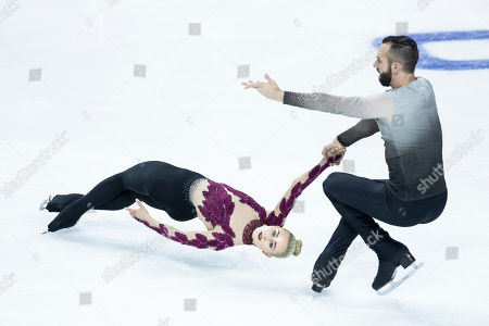 Ashley Cain-Gribble and Timothy Leduc for the US in action during the Pairs Short Program during the 2019 Skate America competition at the Orleans Arena in Las Vegas, Nevada, USA, 18 October 2019.