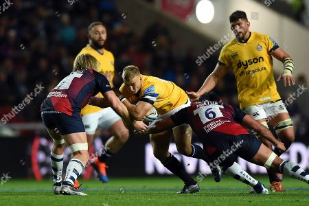 Stock Image of Jack Walker of Bath Rugby takes on the Bristol defence
