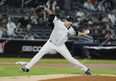 Stock Picture of New York Yankees pitcher James Paxton throws against the Houston Astros in the top of the first inning of their MLB American League Championship Series playoff baseball game five at Yankee Stadium in the Bronx, New York, USA, 18 October 2019. The winner of the seven game playoff series will go on to face the Washington Nationals in the World Series.