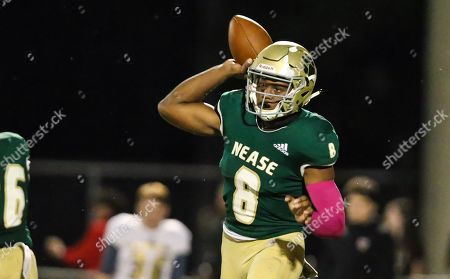 Stock Photo of Nease Panthers quarterback Joe Nieves (8) throws a pass during the first half of a high school football game against the St. Augustine Yellow Jackets at Nease High School in Ponte Vedra, Fla., [Gary Lloyd McCullough/ Correspondent]