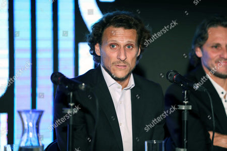 Uruguayan former soccer player Diego Forlan speaks during a press conference in Montevideo, Uruguay, 18 October 2019. Forlan announced he will hold a goodbye match at the Centenary Stadium of Montevideo.