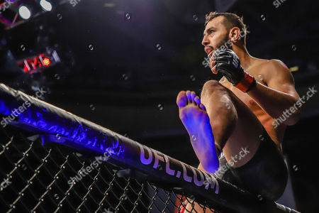 Dominick Reyes celebrates his victory over Chris Weldman in a light heavyweight mixed martial arts bout