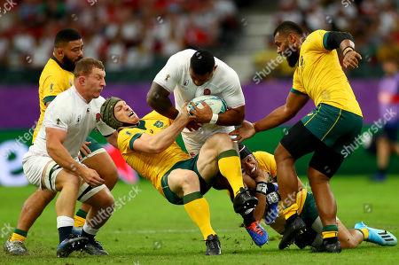 Stock Picture of England vs Australia. England's Billy Vunipola tackled by David Pocock, Christian Lealiifano and Samu Kerevi of Australia