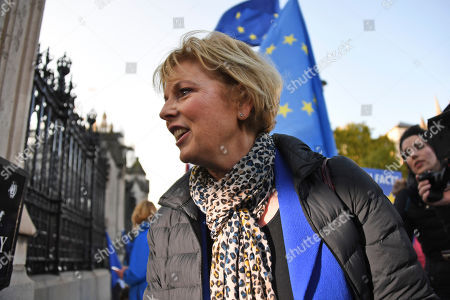 Anna Soubry, independent MP, enters the Houses of Parliament in London, . Britain's Parliament is set to vote in a rare Saturday sitting on Prime Minister Boris Johnson's new deal with the European Union, a decisive moment in the prolonged bid to end the Brexit stalemate. Various scenarios may be put in motion by the vote