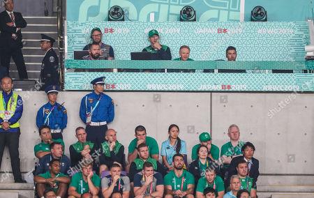 New Zealand All Blacks vs Ireland. Ireland scrum coach Greg Feek, Defence coach Andy Farrell, forwards coach Simon Easterb, Ireland head coach Joe Schmidt and High Performance Analyst Vinny Hammond along with support staff