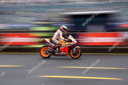 Spanish MotoGP rider Jorge Lorenzo of Repsol Honda Team  goes on the pit lane during a free practice session of MotoGP Motorcycling Grand Prix of Japan at Twin Ring Motegi in Motegi, Tochigi Prefecture, north of Tokyo, 19 October 2019.