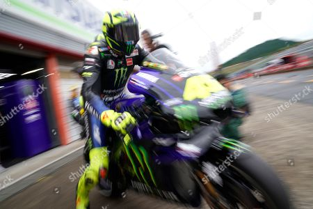 Italian MotoGP rider Valentino Rossi of Monster Energy Yamaha MotoGP Team pits out during a free practice session of MotoGP Motorcycling Grand Prix of Japan at Twin Ring Motegi in Motegi, Tochigi Prefecture, north of Tokyo, 19 October 2019.Â