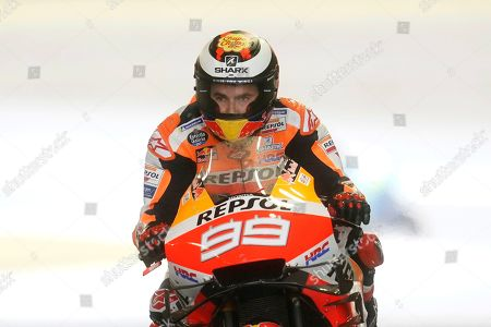 Spanish MotoGP rider Jorge Lorenzo of Repsol Honda Team in action during a free practice session of MotoGP Motorcycling Grand Prix of Japan at Twin Ring Motegi in Motegi, Tochigi Prefecture, north of Tokyo, 19 October 2019.