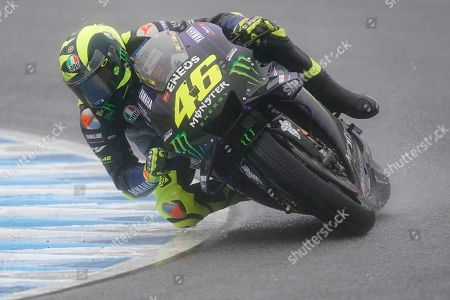 Italian MotoGP rider Valentino Rossi of Monster Energy Yamaha MotoGP Team in action during a free practice session of MotoGP Motorcycling Grand Prix of Japan at Twin Ring Motegi in Motegi, Tochigi Prefecture, north of Tokyo, 19 October 2019.Â