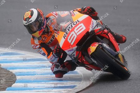 Spanish MotoGP rider Jorge Lorenzo of Repsol Honda Team in action during a free practice session of MotoGP Motorcycling Grand Prix of Japan at Twin Ring Motegi in Motegi, Tochigi Prefecture, north of Tokyo, 19 October 2019.Â