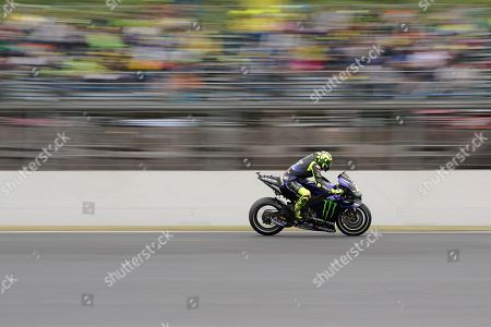 Italian MotoGP rider Valentino Rossi of Monster Energy Yamaha MotoGP Team in action during the official qualifying session of MotoGP Motorcycling Grand Prix of Japan at Twin Ring Motegi in Motegi, Tochigi Prefecture, north of Tokyo, 19 October 2019.Â