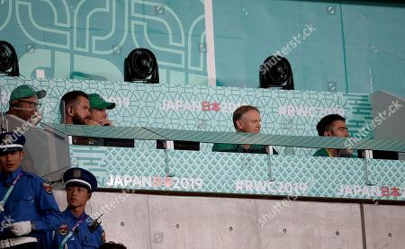 New Zealand All Blacks vs Ireland. Ireland scrum coach Greg Feek, Defence coach Andy Farrell, forwards coach Simon Easterb, Ireland head coach Joe Schmidt and High Performance Analyst Vinny Hammond