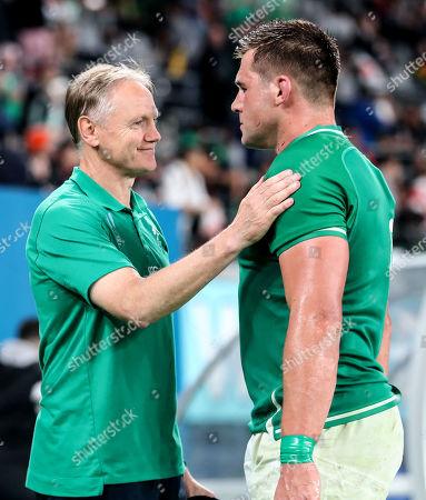 New Zealand All Blacks vs Ireland. Ireland's Head Coach Joe Schmidt with Cj Stander after the game