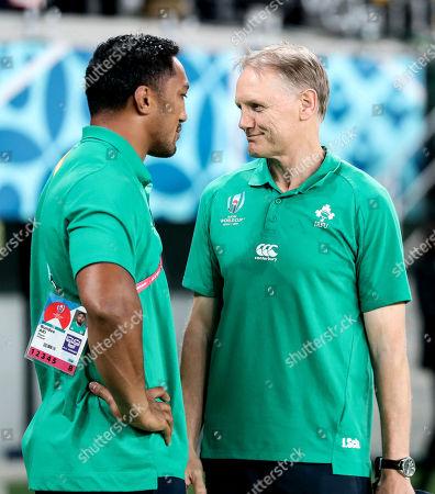 New Zealand All Blacks vs Ireland. Ireland's Head Coach Joe Schmidt with Bundee Aki after the game
