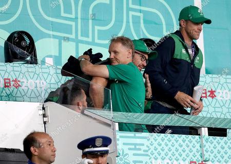 New Zealand All Blacks vs Ireland. Ireland's Head Coach Joe Schmidt with Scrum coach Greg Feek after the game