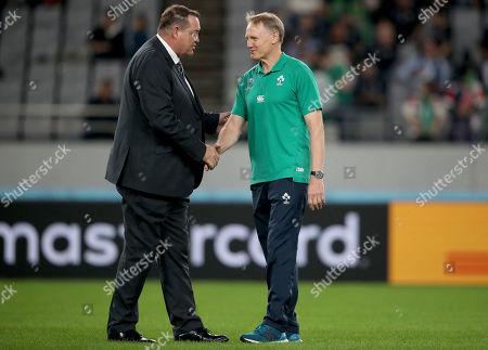New Zealand All Blacks vs Ireland. New Zealand head coach Steve Hansen with Ireland head coach Joe Schmidt