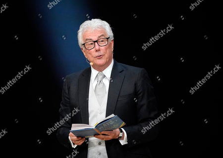 British author Ken Follett from from his book 'Notre-Dame' during the Literatur gala at the book fair Frankfurter Buchmesse 2019, in Frankfurt am Main, Germany, 19 October 2019. The 71st edition of the international Frankfurt Book Fair, described as the world's most important fair for the print and digital content business, runs from 16 to 20 October and gathers authors, writers and celebrities from all over the world. This year's Guest of Honour country is Norway.
