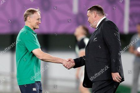 Ireland coach Joe Schmidt, left, and New Zealand coach Steve Hansen shake hands before the Rugby World Cup quarterfinal match at Tokyo Stadium between New Zealand and Ireland in Tokyo, Japan