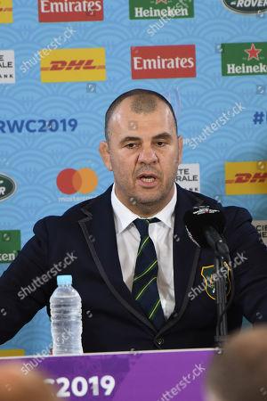 Australia head coach Michael Cheika attends a media conference