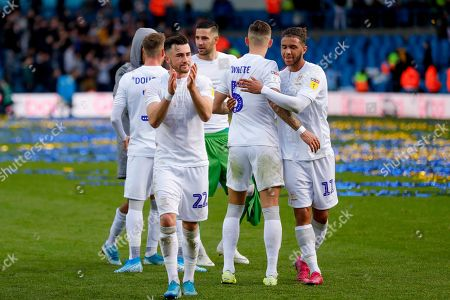 Leeds United midfielder Jack Harrison (22), on loan from Manchester City, applauds the fans during Leeds United's 100th anniversary EFL Sky Bet Championship match between Leeds United and Birmingham City at Elland Road, Leeds