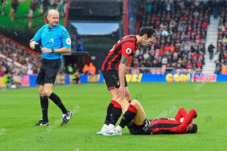 Adam Smith of Bournemouth checks on Harry Wilson of Bournemouth as Referee Lee Mason looks on during AFC Bournemouth vs Norwich City, Premier League Football at the Vitality Stadium on 19th October 2019