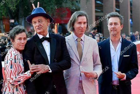 US actress Francis McDormand, US actor Bill Murray, US director Wes Anderson and US director and actor Edward Norton attend the 14th annual Rome Film Festival, in Rome, Italy, 19 October 2019. The film festival runs from 17 to 27 October 2019.