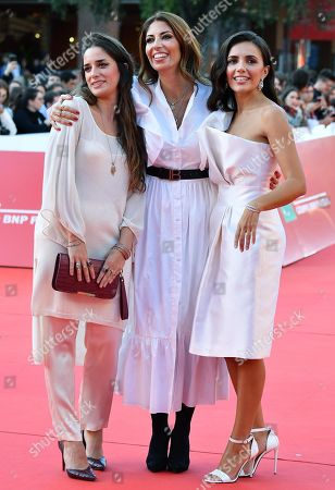 Italian director Maria Tilli (L), Italian fashion designer Lavinia Biagiotti (C), and Italian actress Serena Rossi arrive for the screening of 'Illuminate-Laura Biagiotti' at the 14th annual Rome Film Festival, in Rome, Italy, 19 October 2019. The film festival runs from 17 to 27 October 2019.