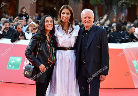 Lavinia Biagiotti (C), Santo Versace (R) and Francesca De Stefano (L) arrive for the screening of 'Illuminate-Laura Biagiotti' at the 14th annual Rome Film Festival, in Rome, Italy, 19 October 2019. The film festival runs from 17 to 27 October 2019.