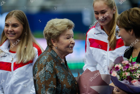 Naina Yeltsina (2-L), the widow of former Russian President Boris Yeltsin, attends the Kremlin Cup tennis tournament in Moscow, Russia, 19 October 2019.