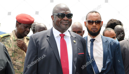 South Sudan opposition leader Riek Machar, centre, as he returns to the country, in Juba, to meet with President Salva Kiir less than a month before their deadline to form a unity government after a five-year civil war. Machar's two-day visit includes a scheduled meeting with the U.S. ambassador to the United Nations, who arrives Sunday with a U.N. Security Council delegation