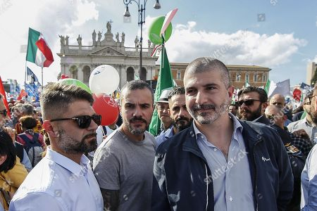 Stock Picture of Simone Di Stefano (R), leader of Casapound, a far right movement, attends an anti-government rally called for by the Italian League party, in Rome, Italy, 19 October 2019. League party leader Matteo Salvini, who pulled the plug on the M5S-League government on 08 August citing M5S inaction, called the protest shortly after the inception of the new government formed by his former ally, the anti-establishment 5-Star Movement (M5S), and the centre-left Democratic Party (PD).