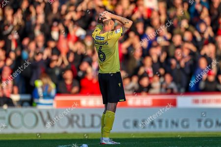 Millwall midfielder Shaun Williams (6) at full time during the EFL Sky Bet Championship match between Brentford and Millwall at Griffin Park, London