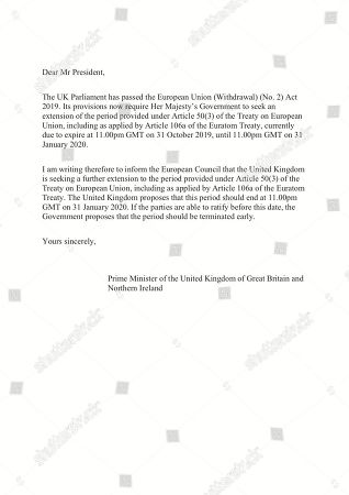 In this image issued by 10 Downing Street, showing of an unsigned letter written by British Prime Minister Boris Johnson addressed to the European Council President Donald Tusk asking the European Union for a delay to Brexit
