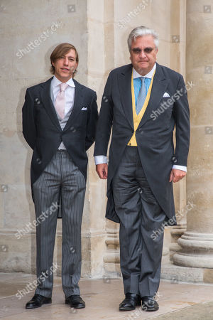 Prince Louis of Luxembourg (L) and prince Laurent of Belgium (R) arrive to attend the wedding of prince Napoleon and Countess Olympia Arco-Zunneberg  at the Saint-Louis-des-Invalides cathedral at the Invalides National Hotel  in Paris, France, 19 October 2019.